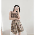 Dress Summer 2021 Sweet cool Brown S,M,L Short skirt singleton  Sleeveless commute square neck High waist lattice Socket A-line skirt other camisole 18-24 years old Type A Retro Button