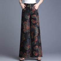 Casual pants Leaf flower M,L,XL,2XL,3XL,4XL,5XL Spring 2021 trousers Wide leg pants High waist commute routine 81% (inclusive) - 90% (inclusive) MLZS-1903 other Ol style Button