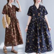 Dress Summer 2021 Coffee, Navy, Burgundy M,L,XL,2XL Miniskirt singleton  Short sleeve V-neck Decor Socket 25-29 years old 51% (inclusive) - 70% (inclusive) hemp