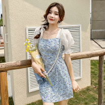 Dress Summer 2021 The dress is blue S,M,L Short skirt singleton  Short sleeve Sweet square neck High waist Decor other A-line skirt other Others 18-24 years old Type A Pleat, fold, print More than 95% Chiffon college