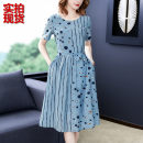 Dress Summer 2020 blue S,M,L,XL,2XL,3XL Mid length dress singleton  Short sleeve commute Crew neck middle-waisted stripe Socket A-line skirt other lady