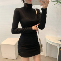 Dress Autumn 2020 Black, gray S,M,L Short skirt singleton  Long sleeves commute High collar High waist Solid color Socket other routine Others 25-29 years old Type A Korean version fold 81% (inclusive) - 90% (inclusive) other cotton