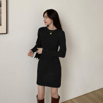 Dress Winter 2020 Black, gray S,M,L Short skirt singleton  Long sleeves commute Crew neck High waist Solid color Socket other routine Others 25-29 years old Type H Korean version fold L23986 81% (inclusive) - 90% (inclusive) other other
