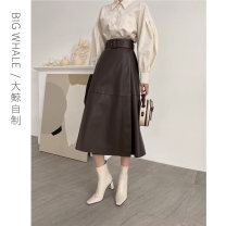 skirt Spring 2021 S,M,L coffee Mid length dress commute High waist A-line skirt Solid color Type A 25-29 years old X24198 81% (inclusive) - 90% (inclusive) other PU Lace up, strap, zipper Korean version 401g / m ^ 2 (inclusive) - 500g / m ^ 2 (inclusive)