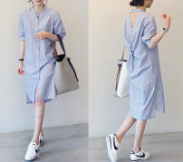 Dress Summer 2021 Picture color S,M,L,XL longuette singleton  elbow sleeve commute stand collar middle-waisted stripe Single breasted routine Hanging neck style 25-29 years old Type H Other / other Korean version Shirt skirt 81% (inclusive) - 90% (inclusive) other cotton