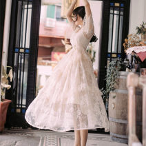 Dress Summer of 2019 Apricot color (including interior) L,M,S Mid length dress singleton  Short sleeve Sweet square neck High waist Socket Ruffle Skirt pagoda sleeve Type A Lace 81% (inclusive) - 90% (inclusive) Lace princess