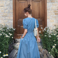 Dress Summer 2020 Denim blue S,M,L Mid length dress singleton  Short sleeve commute V-neck High waist Solid color Socket A-line skirt puff sleeve Others Type A Other / other Korean version More than 95% other other