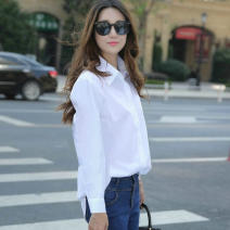 shirt Spring of 2019 polyester fiber 96% and above Long sleeves Versatile Medium length Polo collar Single row multi button shirt sleeve Solid color 18-24 years old Straight cylinder