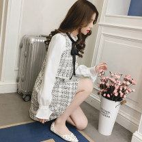 Dress Spring 2021 White, black S,M,L,XL Short skirt Fake two pieces Long sleeves commute Lotus leaf collar High waist lattice zipper A-line skirt pagoda sleeve Others 25-29 years old Type A lady Ruffle, lace, stitching, three-dimensional decoration, button, zipper 7210# Chiffon polyester fiber