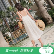 Dress Summer of 2018 white S,M,L,XL Mid length dress singleton  Sleeveless Sweet Crew neck Loose waist Solid color Socket A-line skirt camisole Type A Other / other Three dimensional decoration 31% (inclusive) - 50% (inclusive) Chiffon hemp Bohemia