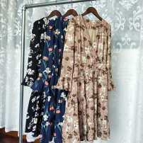 Dress Spring of 2018 Crochet Black Crochet Khaki Crochet Average size Mid length dress singleton  Long sleeves commute V-neck High waist Decor Socket