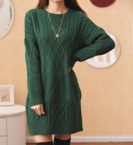 sweater Spring of 2018 Average size Long sleeves Cardigan singleton  Regular acrylic fibres 30% and below Crew neck thickening commute routine Solid color Straight cylinder Heavy wool Keep warm and warm 18-24 years old Other / other Gouhua hollow