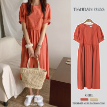 Dress Summer 2020 Yellow, orange S,M,L Mid length dress singleton  Short sleeve commute Crew neck Solid color Others Korean version Auricularia auricula, stitching, lace