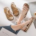 Sandals 35 36 37 38 39 40 Beige Khaki Other / other PU Barefoot Flat bottom Middle heel (3-5cm) Summer of 2018 Flat buckle Korean version Solid color