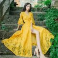 Dress Summer of 2018 White, yellow, black longuette singleton  elbow sleeve commute V-neck High waist Solid color Socket Big swing pagoda sleeve Others Type A Other / other Korean version Lace 71% (inclusive) - 80% (inclusive) Lace other