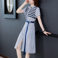 Dress Summer 2020 Picture color S,M,L,XL,2XL Miniskirt singleton  Short sleeve commute other High waist Single breasted A-line skirt routine Others Type A Simplicity 31% (inclusive) - 50% (inclusive) other polyester fiber
