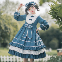 Dress Spring 2020 Light blue, dark blue S,M,L,XL singleton  Long sleeves Sweet Doll Collar High waist Solid color Socket Princess Dress bishop sleeve Others 18-24 years old Type A Eieyomi Bowknot, ruffle, pleat, Auricularia auricula, lace, stitching, three-dimensional decoration, button, zipper, lace
