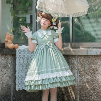 Dress Spring 2020 S,M,L,XL Mid length dress singleton  Short sleeve Sweet Doll Collar High waist Solid color Single breasted Princess Dress bishop sleeve Others 18-24 years old Type A Eieyomi A-30 More than 95% other polyester fiber Lolita