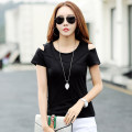 T-shirt 3XL,2XL,XL,L,M Summer 2020 Short sleeve Crew neck Self cultivation Regular routine commute cotton 96% and above 25-29 years old Korean version Solid color Open line decoration