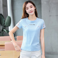 T-shirt M,L,XL,2XL,3XL Summer 2021 Short sleeve Crew neck Self cultivation Regular Lotus leaf sleeve Sweet cotton 96% and above Plants and flowers Sderl / sundel Embroidery college
