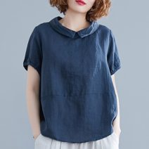 Women's large Summer 2020 Ginger, navy L [recommended 100-130 kg], XL [recommended 130-160 kg], 2XL [recommended 160-200 kg] shirt singleton  commute easy moderate Socket Short sleeve Solid color literature routine cotton Three dimensional cutting Other / other 25-29 years old Button
