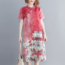 Women's large Summer 2020 Red, blue M [recommended 90-100 kg], l [recommended 100-110 kg], XL [recommended 110-125 kg], 2XL [recommended 125-140 kg] Dress singleton  commute Straight cylinder moderate Socket Short sleeve Big flower ethnic style routine Other / other 25-29 years old Medium length