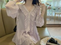 Dress Autumn 2020 Light lavender in stock, light lavender in 12-15 working days, Xianbai apricot in stock S, M Two piece set Long sleeves Solid color XX202018 More than 95% polyester fiber