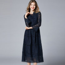 Women's large Autumn of 2019 Royal Blue Big XL, big L, big XXL, big XXXL, big XXXXL, big XXXXL Dress singleton  commute easy moderate Socket three quarter sleeve lattice Simplicity Nylon, others Taoyizhuai / Taoyi 25-29 years old Resin fixation Middle-skirt Hollowing out zipper