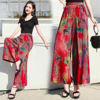 Casual pants XL,2XL,3XL,4XL Summer 2020 Ninth pants Wide leg pants High waist Versatile Thin money 35-39 years old Faith cotton pocket cotton