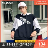 Sweater Youth fashion Resake / backspace 165/S 170/M 175/L 180/XL Letter pattern Socket routine Hood winter easy motion teenagers Youthful vigor routine Cotton polyester Cotton 84.5% polyester 15.5% cotton Color matching other Winter of 2018 80% (inclusive) - 89% (inclusive) No pockets Socket