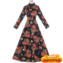 Dress Winter 2020 E19 × fash64 black printing L,XL,2XL,3XL longuette commute Half high collar High waist Decor Retro 51% (inclusive) - 70% (inclusive)