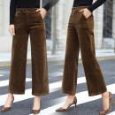 Casual pants Khaki grey black 26/S 27/M 28/L 29/XL 30/XXL 31/XXXL Autumn of 2018 trousers Wide leg pants High waist Versatile routine 96% and above