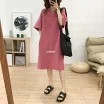 Dress Summer 2021 Black, raspberry red Average size Mid length dress singleton  Short sleeve commute Crew neck Loose waist Solid color Socket routine Others Type H Other / other Korean version 51% (inclusive) - 70% (inclusive) other cotton