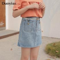 skirt Summer 2020 M Denim blue Short skirt Sweet High waist Splicing style Big flower Type A 18-24 years old 81% (inclusive) - 90% (inclusive) Denim Duoyi / flower other 401g / m ^ 2 (inclusive) - 500g / m ^ 2 (inclusive)