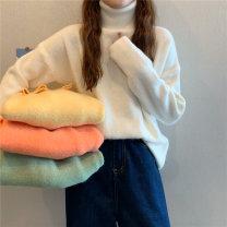 Wool knitwear Winter 2020 XS,S,M Milk white, white orange, bean paste green, goose egg yolk Long sleeves singleton  Socket other 51% (inclusive) - 70% (inclusive) Medium length thickening commute High collar routine Solid color Socket Korean version 18-24 years old
