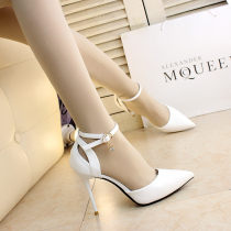 Low top shoes 34 35 36 37 38 39 Other / other White black Sharp point Fine heel PU Shallow mouth Super high heel (over 8cm) PU Summer of 2018 Flat buckle sexy Adhesive shoes Youth (18-40 years old) Solid color rubber Lazy shoes Shallow mouth buckle PU Face dressing