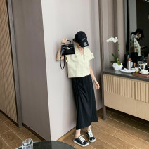 skirt Summer 2020 S,M,L Black / black in stock Mid length dress Irregular Solid color 18-24 years old