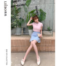 skirt Summer 2020 S,M,L Denim blue Short skirt Sweet Natural waist Splicing style Type A 25-29 years old 5119AL1029 51% (inclusive) - 70% (inclusive) Denim cut silk into pieces for writing letters cotton Ruili