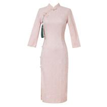 cheongsam Autumn 2020 S,M,L,XL,2XL Pink (for hanging) three quarter sleeve long cheongsam High slit Oblique lapel Solid color