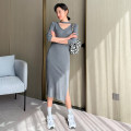 Dress Autumn 2020 Black, dark grey Average size Mid length dress singleton  Long sleeves street V-neck High waist Solid color Socket One pace skirt routine Others Type H W009 81% (inclusive) - 90% (inclusive) knitting cotton Europe and America