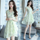 Dress Summer 2021 Light blue, pink, yellow S. M, l, XL, 2XL, the quantity is limited 59.8 yuan, and the promotion is about to return to the original price of 67 yuan longuette singleton  Long sleeves commute V-neck High waist Solid color Socket A-line skirt routine Type A Korean version Chiffon