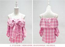 shirt Pink M cotton 81% (inclusive) - 90% (inclusive) three quarter sleeve commute Regular One word collar Socket routine lattice Straight cylinder
