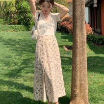 skirt Spring 2021 S,M,L Little red flowers, little purple flowers Mid length dress Retro High waist A-line skirt Decor Type A 18-24 years old 30% and below other polyester fiber printing