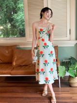Dress Summer 2021 Apricot, light green S,M,L Mid length dress singleton  Sleeveless commute square neck High waist Broken flowers Socket A-line skirt other camisole 18-24 years old Type A Retro Backless, asymmetrical, swallow tail, printed 31% (inclusive) - 50% (inclusive) other polyester fiber