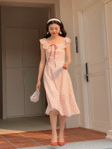 Dress Summer 2021 Cream apricot, girl powder S, M Mid length dress singleton  Short sleeve commute One word collar High waist Broken flowers Socket A-line skirt Flying sleeve Others 18-24 years old Type A Retro 31% (inclusive) - 50% (inclusive) other other