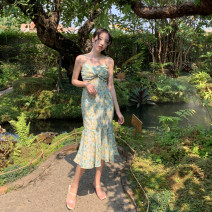 Dress Autumn 2020 Little green flower S,M,L Mid length dress singleton  Sleeveless commute V-neck High waist Decor Socket A-line skirt other camisole Type A Retro Lotus leaf, open back, fold, three-dimensional decoration, asymmetry, wave, swallow tail other