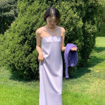 Dress Spring 2021 Milk yellow, taro purple Average size Mid length dress singleton  Sleeveless commute other High waist Solid color Socket A-line skirt other camisole 18-24 years old Type A Retro backless 31% (inclusive) - 50% (inclusive) other polyester fiber