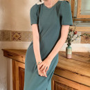 Dress Spring 2021 Black, green S, M Mid length dress singleton  Short sleeve commute Crew neck High waist Solid color Socket A-line skirt routine Others 18-24 years old Type A Retro make a slit or vent 31% (inclusive) - 50% (inclusive) other polyester fiber