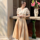 skirt Summer 2021 S, M Khaki, carmine Mid length dress commute High waist Pleated skirt Solid color Type A 18-24 years old 30% and below Lace polyester fiber fold Retro