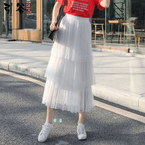 skirt Autumn of 2019 S,M,L,XL White, blue, apricot, black, pink Mid length dress commute High waist Cake skirt Solid color Type A 18-24 years old SSY1981 More than 95% other other Ruffles, ruffles, pleats, gauze Korean version
